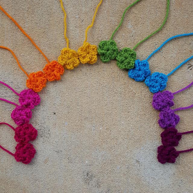 rainbow of crochet flowers