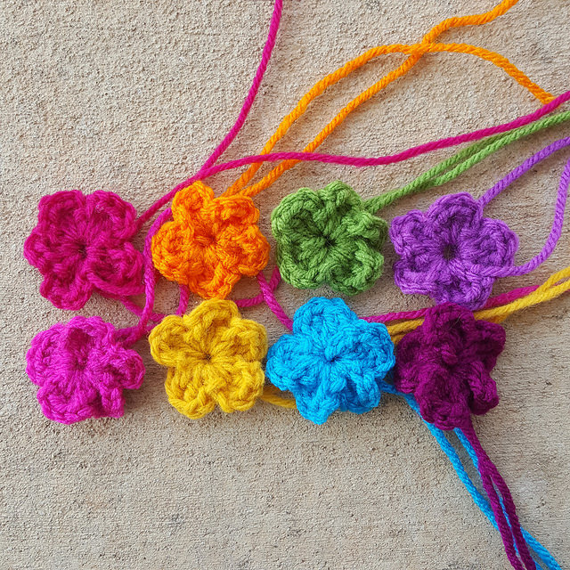 five petal crochet flowers
