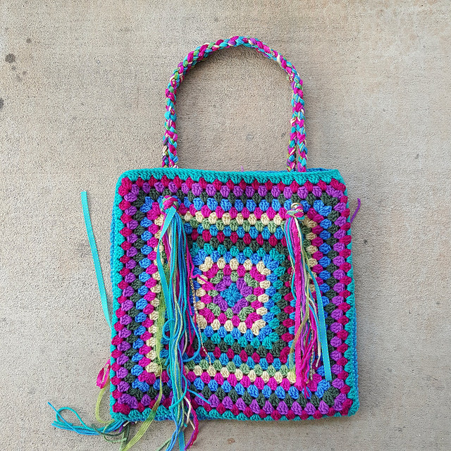 granny square crochet purse