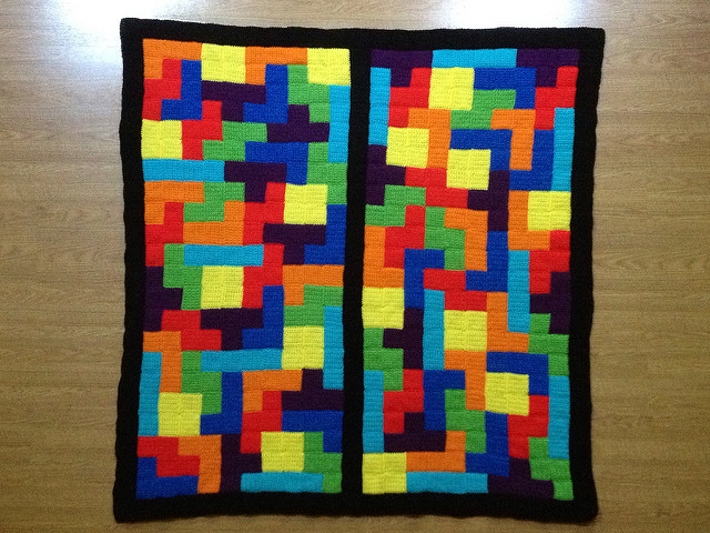 tetris inspired crochet blanket