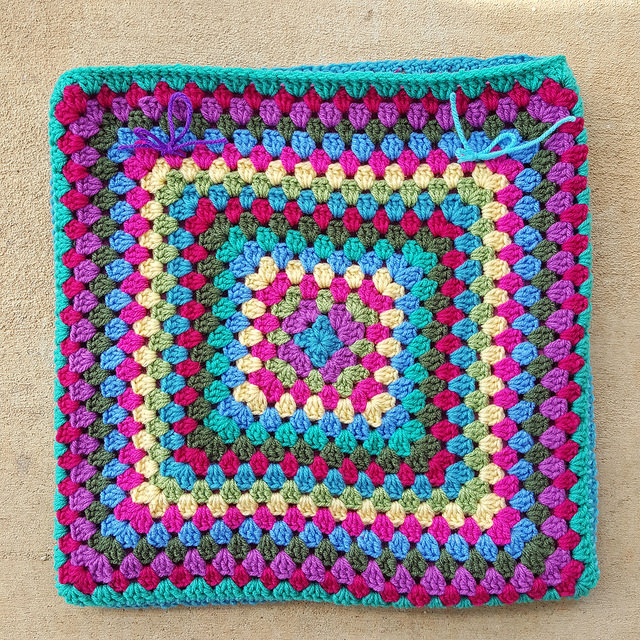 granny square purse ready for grommets