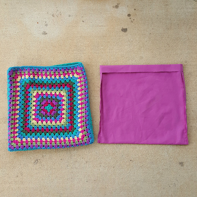 granny square crochet purse and fabric lining