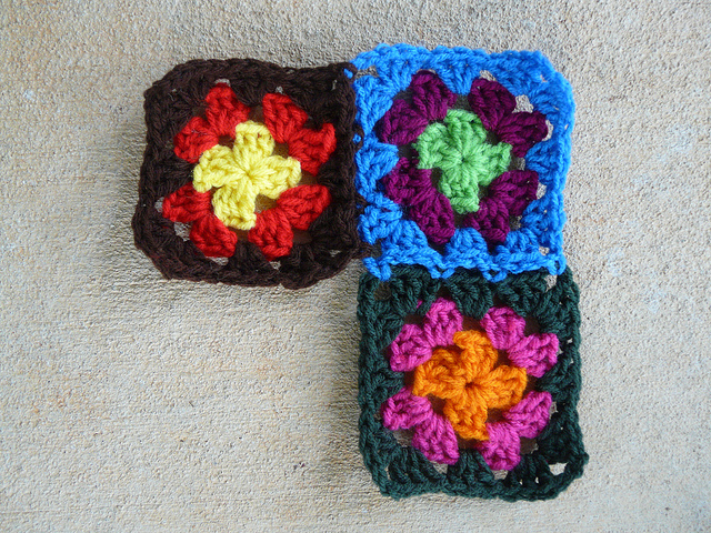 four crochet square granny square