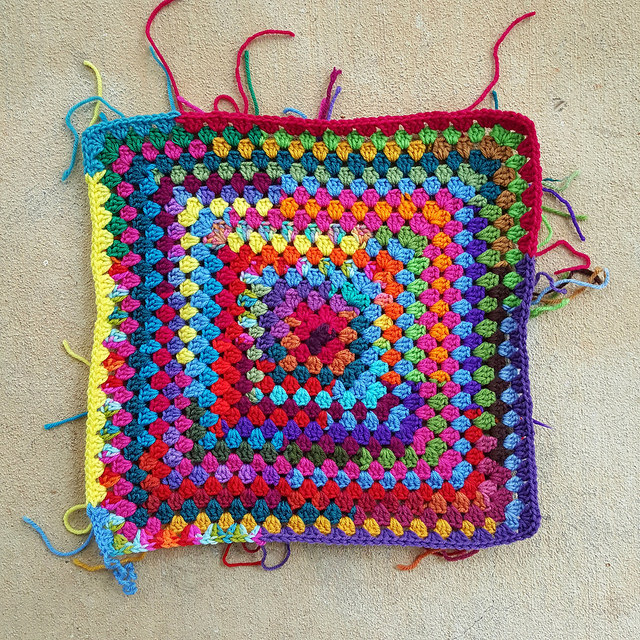 scrap yarn granny square