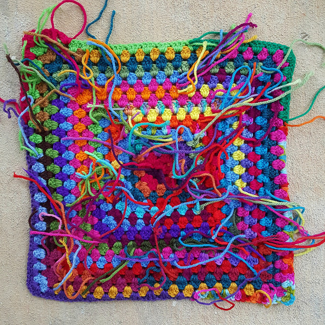 scrap yarn crochet granny square