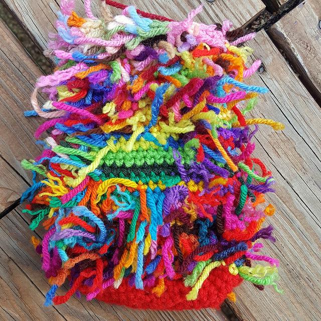 scrap yarn crochet cat bald patch