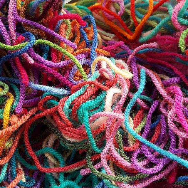 yarn scraps from projects past