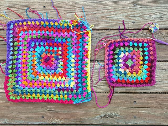 two scrap granny squares