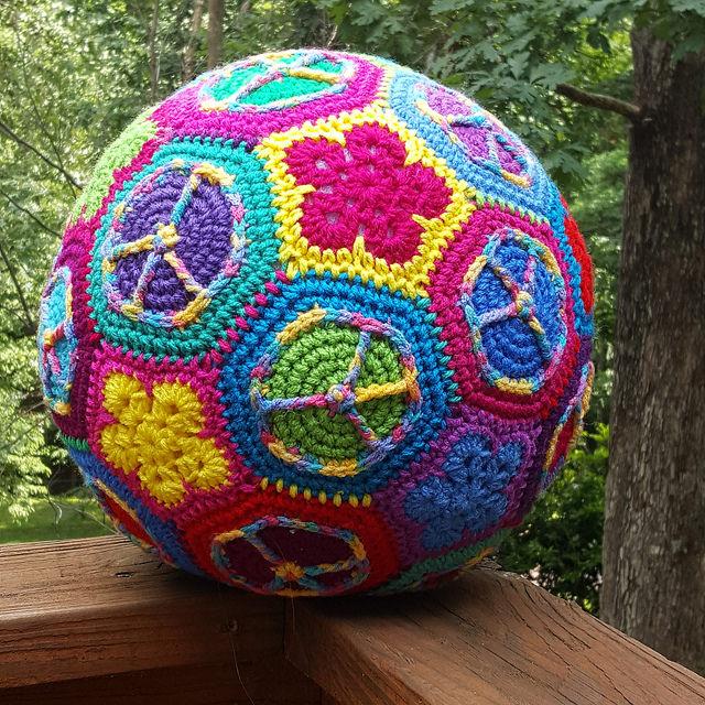 a peace sign crochet hexagon and flower crochet pentagon crochet soccer ball