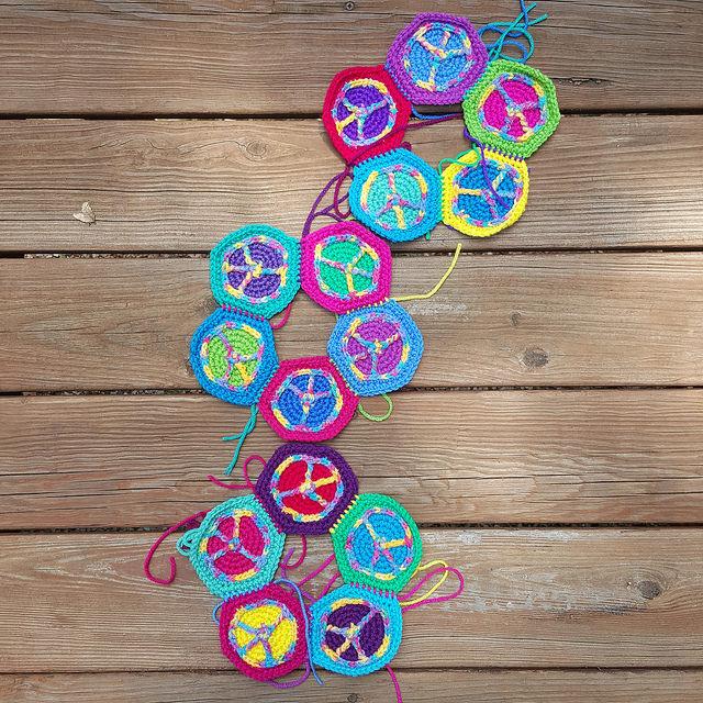 peace sign crochet hexagon panels for a crochet soccer ball