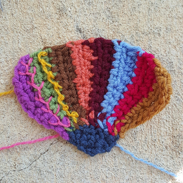 crochetbug, crazy quilt crochet, multicolor crochet fan, embroidery on crochet