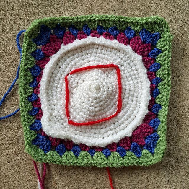 crochetbug, crochet circle, crochet square, embroidery, diamond suit pip, bullion stitch
