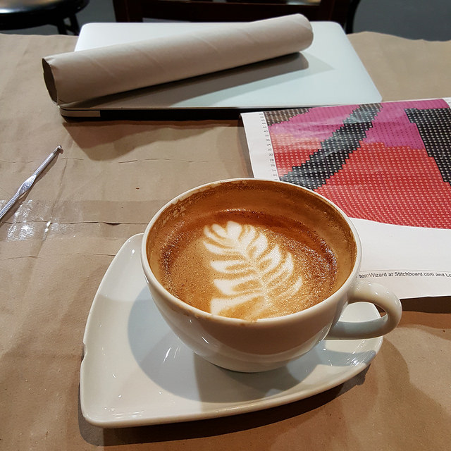 crochetbug, Olek, Love Across the USA, double crochet, crochet panel, coffee, latte