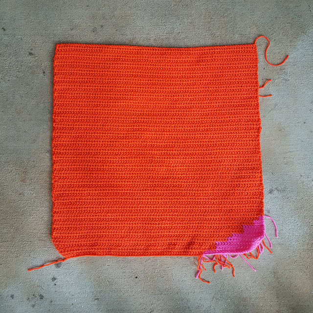 large orange double crochet square