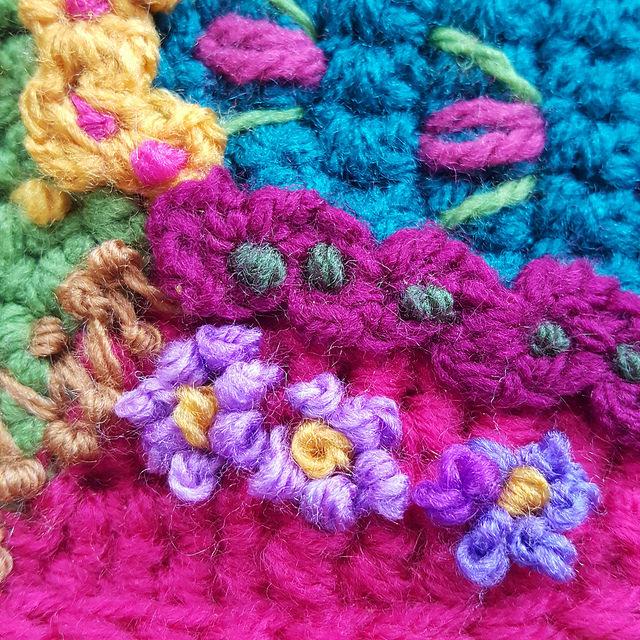 crochetbug, crazy quilt crochet, embroidery on crochet, narrative crochet, crochet panels, crochet rectangles, crochet squares, crochet blanket, crochet afghan, crochet throw