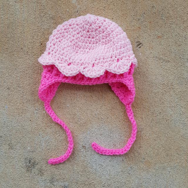 crochetbug, crochet hat, crochet beanie, crochet cap, crochet earflaps, pink