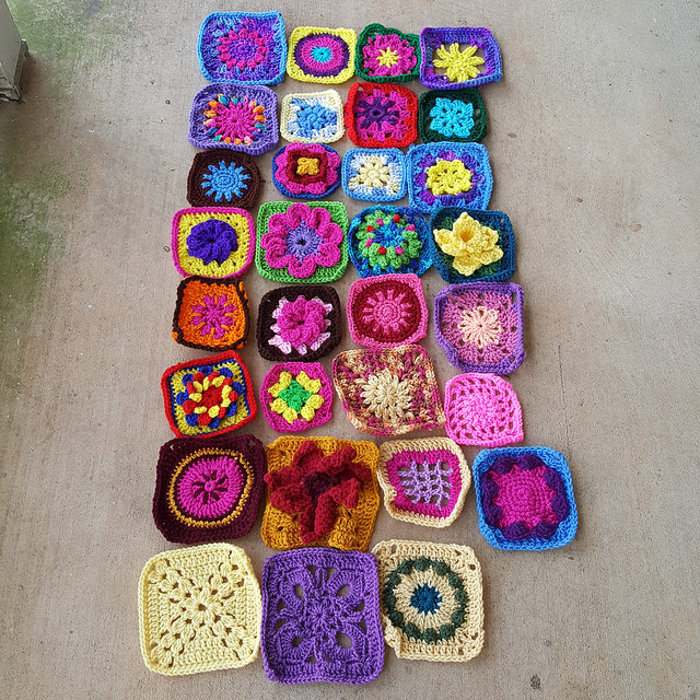 The first crochet squares I identified for rehab