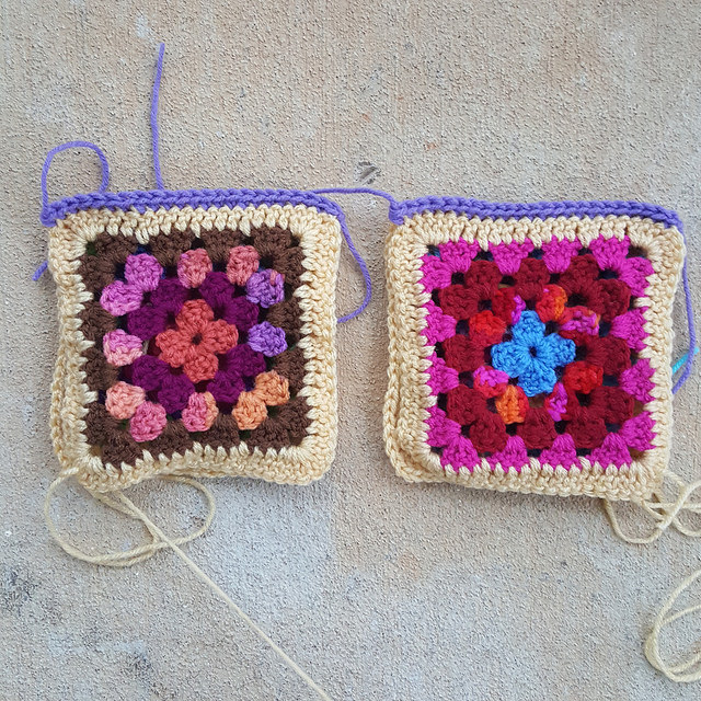 two sets of two granny squares joined with single crochet stitches