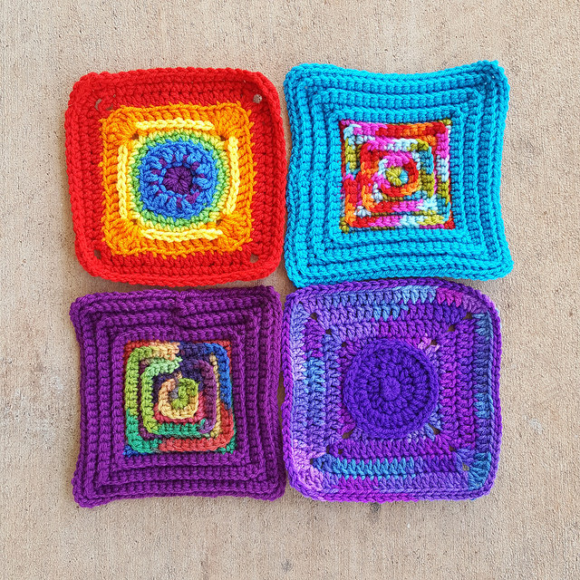 Four more seven-inch crochet squares