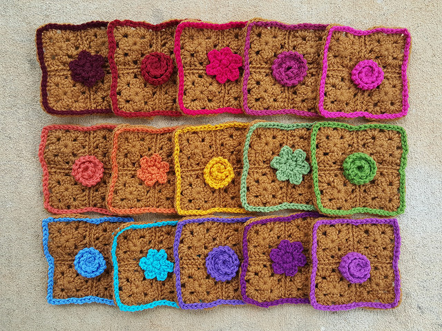"Fifteen rehabbed crochet squares made with the ""use what you have"" ethos"