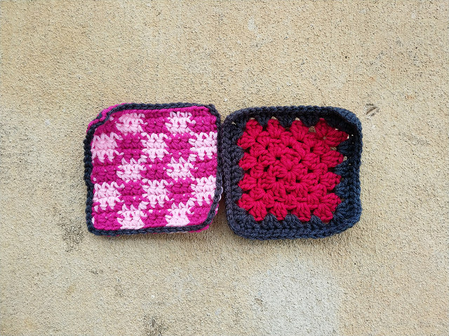 "Two more rehabbed five-inch crochet squares where I learn to ""use what you have"""