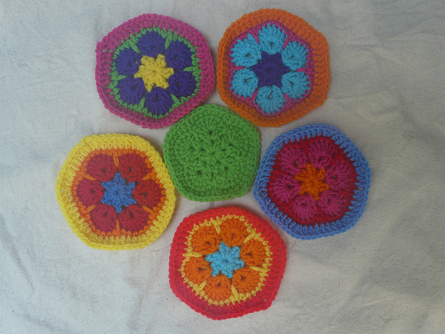 five crochet hexagons and one crochet pentagon to form a panel of a crochet soccer ball