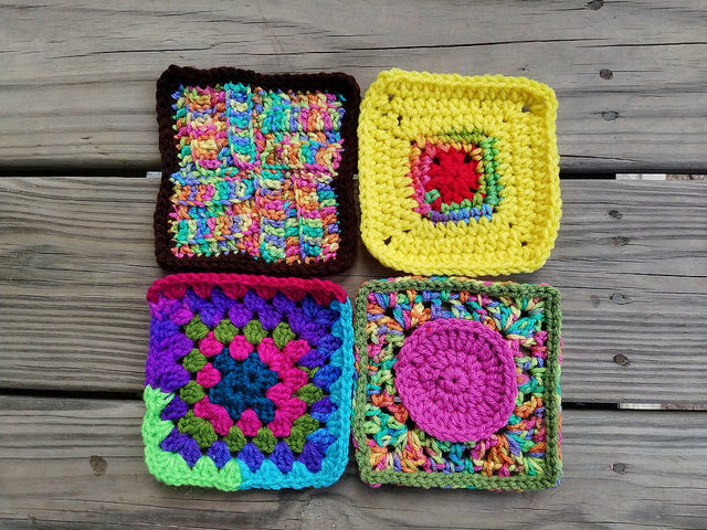 four more crochet squares on the journey to one thousand