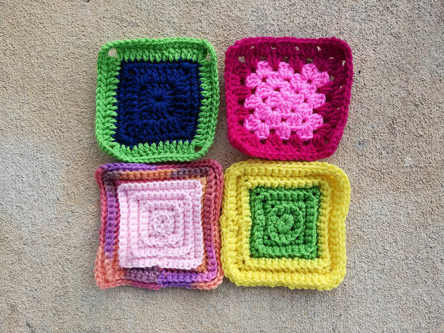 crochetbug, granny squares, crochet rosette, sangria, variegated yarn
