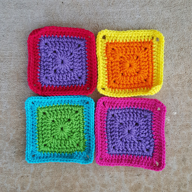 crochetbug, crochet squares, granny squares, rehabbed crochet squares, use what you have, repurpose