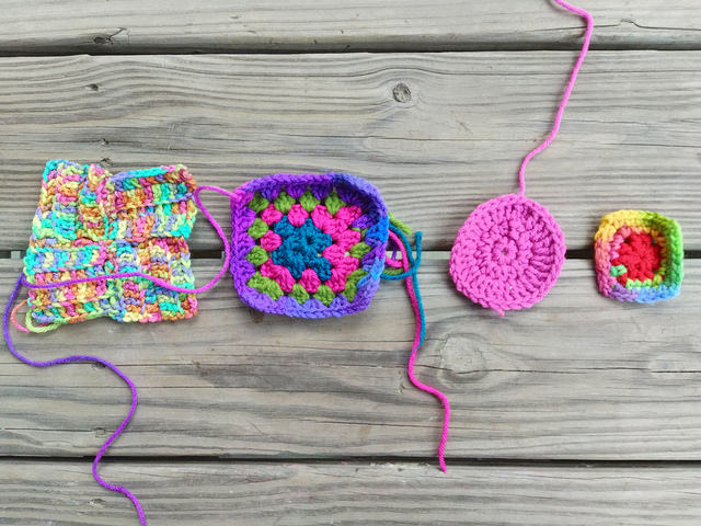 crochetbug, granny squares. crochet square, crochet rehab, use what you have