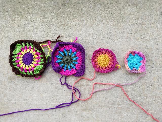 crochetbug, granny squares. crochet square, crochet rehab, use what you have
