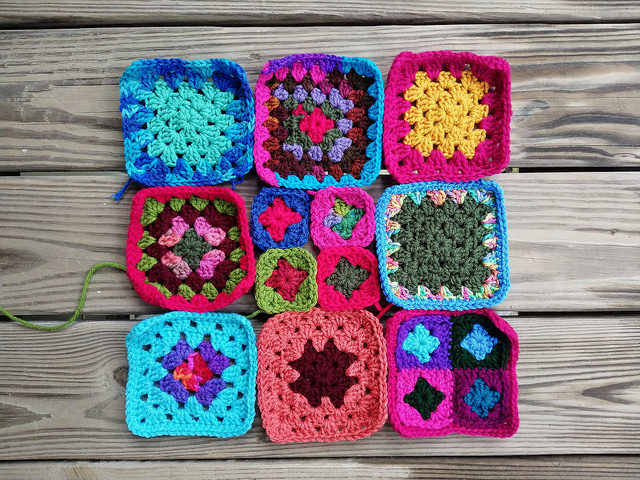 nine multicolor crochet squares and granny squares