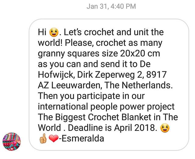 An instagram message from Esmerelda with a new crochet deadline