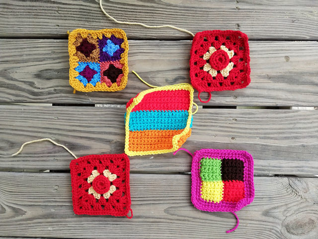 five crochet squares rehabbed and ready for adventure