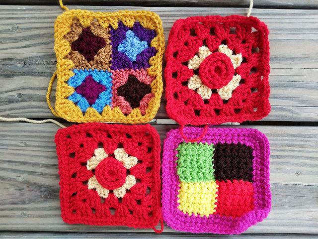four five-inch crochet squares