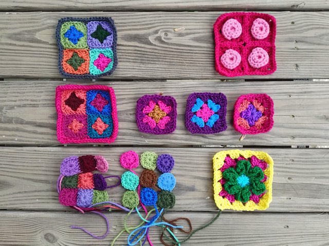 nine future five-inch rehabbed crochet squares