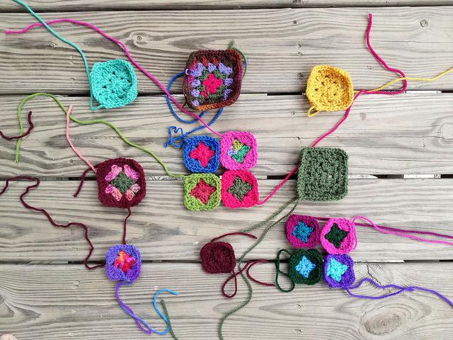 crochetbug, crochet flower, crochet remnant, crochet square, granny square