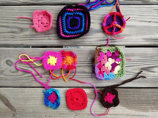 nine multicolor crochet squares, granny squares, and crochet peace sign