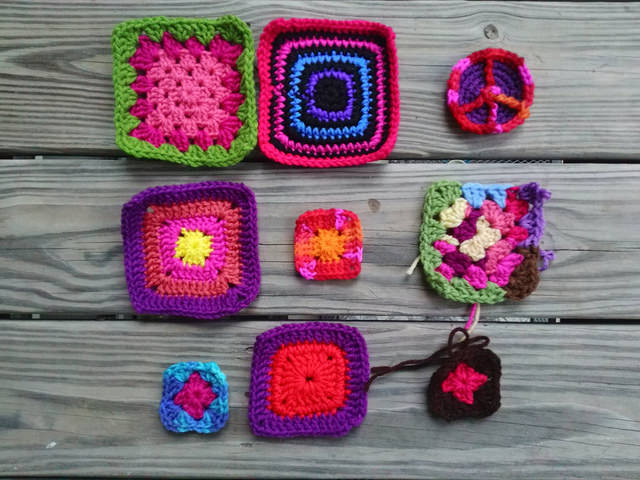 crochet squares, crochet granny squares, and a crochet peace sign
