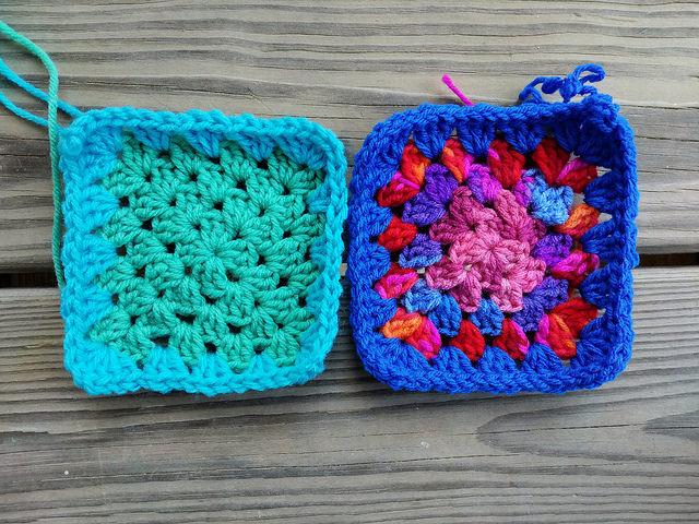 two multicolor five-inch granny squares