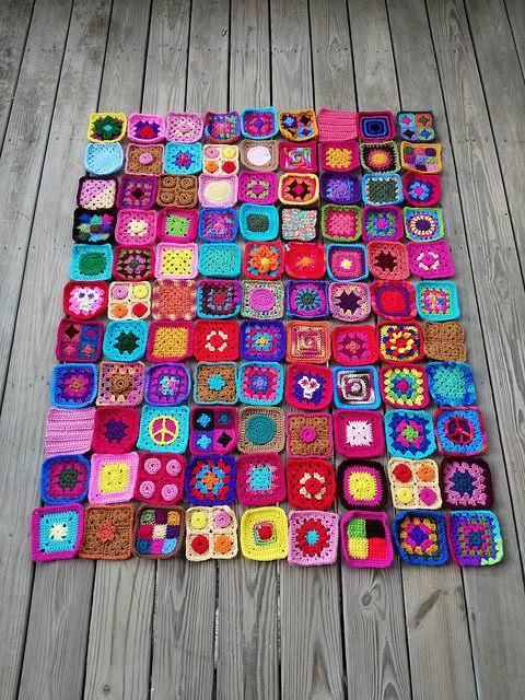 ninety-nine rehabbed five-inch crochet squares