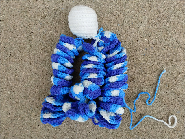 hyperbolic crochet curlicues worked in a variegated blue colorway