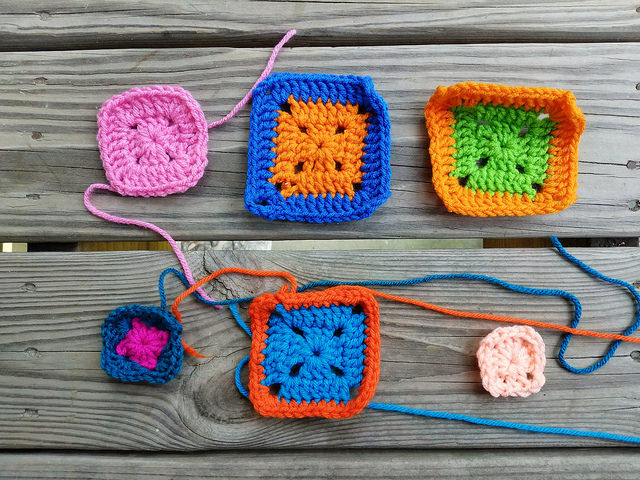 Six granny squares to be rehabbed for the Project Amigo crochet blanket project