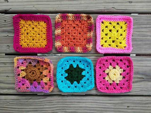 Six rehabbed five-inch crochet squares