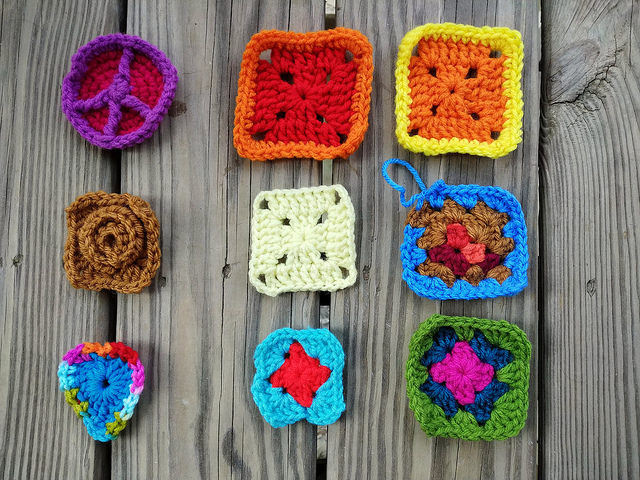 the same nine patch of future crochet squares with the ends woven in ready for crochet rehab