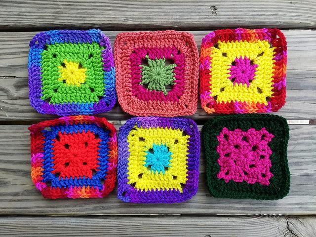 Six rehabbed multicolor crochet squares