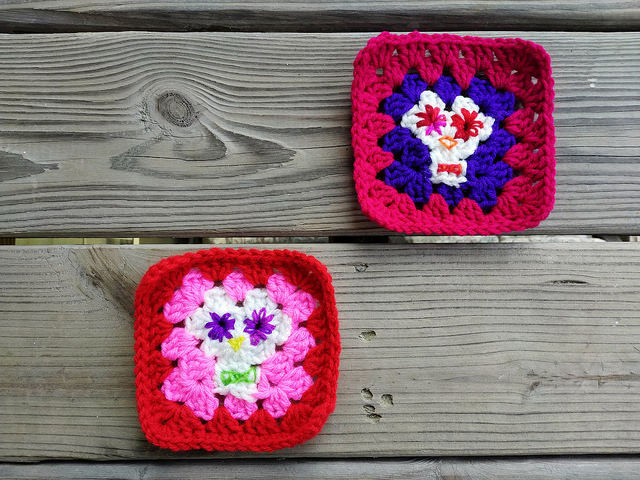 two five-inch day of the dead granny squares save me from going down a crochet rabbit hole