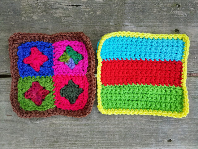 two six-inch crochet squares