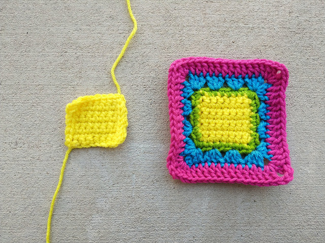 A slightly larger single crochet square center