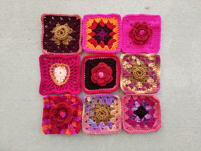 Another nine-patch of rehabbed crochet remnants